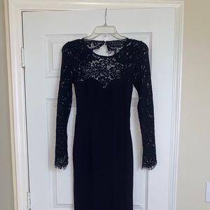 Long Navy Blue Open Back Dress